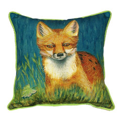 Betsy Drake Interiors - Red Fox Indoor / Outdoor Pillow - Use indoors or outdoors.  This bright, friendly fox will warm up your cabin on those winter holidays, and he's a great conversation piece. Tough, durable and fade resistant.  Spot clean or machine wash.