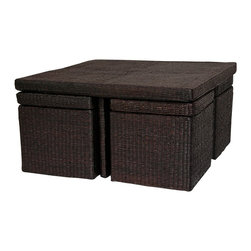 Oriental Unlimited - Natural Fiber Coffee Table w 4 Stools (Mocha) - Color: MochaIncludes unique square coffee table and 4 stools. As shown, this beautiful square coffee table set comes with practical cube shaped stools, lidded and lined for lots of storage. The thick woven rush grass is an excellent, fine quality alternative wicker or rattan. Softer and more substantial. Great set for living room or family room dining. Any square shaped coffee or cocktail table works great with a sectional couch or sofa and love seat configuration. This interesting set has so many possibilities; games, puzzles, or crafts in a family or children's room. All natural, abundant, sustainable woven rush grass. Well crafted with hardy, kiln dried wood frame, lightweight and durable. Shown in Rich Coffee (Mocha). No assembly required. 31.5 in. L x 31.5 in. W x 16.5 in. H