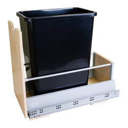 Hardware Resources - Single Pullout Waste Container System - Includes 35 qt. polymer black trash can. Designed for 13 gallon tall kitchen trash bags. Under mount metal drawer box system. Soft-closing under mount slides. Drawer front tall frame with scoop handle. Can be mounted directly to cabinet door. Mounts to bottom of cabinet. Sleek design epoxy coated gray metallic drawer sides. UV coated edge banded Baltic birch plywood front and back. For cabinets with 12.5 in. minimum opening width. Made in USA. 12.5 in. W x 21.13 in. D x 19.5 in. H