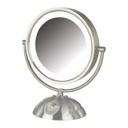 Jerdon HL8505NL 8.5-Inch Tabletop Two-Sided Swivel LED Vanity Mirror with 8x Mag - The Jerdon HL8505NL 8.5-Inch Tabletop Two-Sided Swivel LED Lighted Vanity Mirror is an ideal bathroom and makeup accessory that provides lighting and magnification options to display a clean, bright reflection whenever you need it. This two-sided circular mirror has an 8.5-inch diameter, has a smooth 360-degree swivel rotation and provides 1x and 8x magnification options to make sure every detail of your hair and makeup are in place. The long lasting LED bulbs around the perimeter of the mirror and smooth rotation provide a dynamic point of view. An on/off rotary knob on the base will activate the lighting whenever you need it. The HL8505NL stands 12-inches high, stands upright on countertops, vanities and tables and has an attractive nickel finish that protects against moisture and condensation. The Jerdon HL8505NL 8.5-Inch Tabletop Two-Sided Swivel LED Lighted Vanity Mirror comes with a 1-year limited warranty that protects against any defects due to faulty material or workmanship. The Jerdon Style company has earned a reputation for excellence in the beauty industry with its broad range of quality cosmetic mirrors (including vanity, lighted and wall mount mirrors), hair dryers and other styling appliances. Since 1977, the Jerdon brand has been a leading provider to the finest homes, hotels, resorts, cruise ships and spas worldwide. The company continues to build its position in the market by both improving its existing line with the latest technology, developing new products and expanding its offerings to meet the growing needs of its customers.