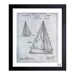 "The Oliver Gal Artist Co. - 'Sailboat 1938 '  Framed Wall Art 26"" x 32"" - The sea lover in your life will treasure this vintage sailboat illustration. Hand-crafted in the United States and framed in one of three sizes, this print arrives ready for hanging with all the needed hardware. Display it proudly in your living room or office for a truly nautical touch."