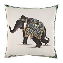 Indian Elephant Decorative Pillow - Nobody does elephant decor better than John Robshaw. This linen pillow is hand-painted in Jaipur and takes one and a half days to complete — a true work of art.