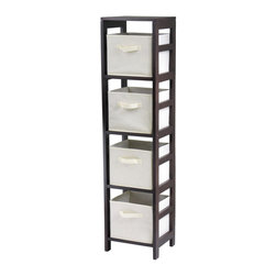Winsome Wood - Winsome Wood Capri 4-Section N Storage Shelf w/ 4 Foldable Beige Fabric Baskets - 4-Section N Storage Shelf w/ 4 Foldable Beige Fabric Baskets belongs to Capri Collection by Winsome Wood This storage shelf comes with 4 foldable beige fabric baskets. Espresso finish storage shelf is perfect for any room in your home. Use it alone as book shelf or with baskets for a complete storage function. Assembly required for shelf. Shelf (1), Basket (4)