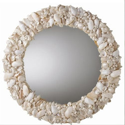 Round natural seashell mirror - I love mirrors and use them all throughout my home.  This mirror is a perfect reminder to stop and take time this summer for a few fun beach trips and lot of sun and relaxation.