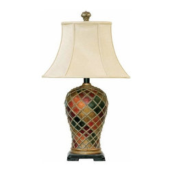 Sterling Lighting - Cream Shades for Joseph Lamp in Multicolor Finish - Use as a home decor. Lampshade pole stands on the black rectangular base with feet. Cream color for the shades makes it simple yet elegant . Lamp shade pole with multi color design. Net that covered the entire pole. Made of composite and fabric materials. Red, Green and Gold finish. 18.5 in. L x 18 in. W x 30 in. H (16 lbs.)
