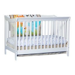 Stork Craft - Stork Craft Giovanna 2-in-1 Fixed Side Convertible Crib in White - Stork Craft - Cribs - 04567231 - The Giovanna 2-in-1 Crib is Stork Craft's contemporary twist on a classic sleigh design. With its simple elegance and ability to convert to a full-size bed (with the separate purchase of a full-size double-ended mattress rail) the Giovanna is the perfect crib for both form and function.