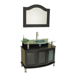 "Fresca - Fresca Contento 39"" Modern Bathroom Vanity w/Tempered Glass Sink - There is something about a glass sink that makes any bathroom feel palatial and posh. This seductive bathroom vanity will elevate your mood, encourage prolonged hygiene sessions and make you so glad you renovated your restroom."