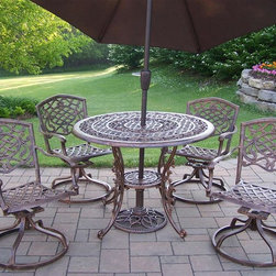 Oakland Living - Mississippi 7-Pc Patio Dining Set - Includes one table, four swivel dining chairs, tilting umbrella and umbrella stand. Fade, chip and crack resistant. Traditional lattice pattern and scroll work. Brass hardware. Warranty: One year limited. Made from rust free cast aluminum. Hardened powder coat finish in antique bronze. Minimal assembly required. Table: 42 in. Dia. x 29 in. H. Swivel chair: 23 in. W x 17.5 in. D x 38 in. H (66 lbs.). Umbrella: 108 in. L x 108 in. W x 100 in. H (45 lbs.)This dining set is the prefect piece for any outdoor dinner setting. Just the right size for any backyard or patio. The Oakland Mississippi Collection combines southern style and modern designs giving you a rich addition to any outdoor setting.