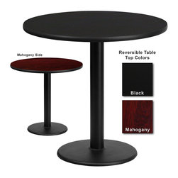 Flash Furniture - Flash Furniture 30 Inch Round Dining Table with Reversible Laminate Top - Complete your restaurant, break room or cafeteria with this reversible table top. The reversible laminate top features two different laminate finishes. This table top is designed for commercial use so you will be assured it will withstand the daily rigors in the hospitality industry. [XU-RD-30-MBT-GG]