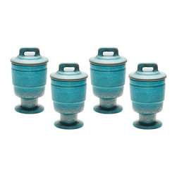 Lazy Susan - Metallic Patina Filled Voitive, Set Of 4 - A Modern Take On Ancient Ceramic Profiles, The Play On Proportions Adds Retro Flair. Handcrafted In Earthenware.