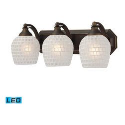 Elk Lighting - Vanity Three Light LED Bath Fixture In Aged Bronze And White Mosaic Glass - Vanity - LED, 800 Lumens (2400 Lumens Total) With Full Scale Dimming Range, 60 Watt (180 Watt Total)Equivalent , 120V Replaceable LED Bulb Included  - Map feature as Dimmable: Full Scale Dimming Range Elk Lighting - 570-3B-WHT-LED