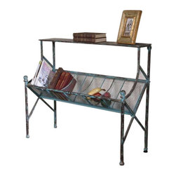 Uttermost Generosa Iron Bookshelf Table - Clever organization built in turquoise crackle, forged iron with oxidized black undertones. Clever organization built in turquoise crackle, forged iron with oxidized black undertones.
