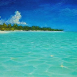 "Original Tropical Caribbean Seascape Painting - ""Heavenly"" is an original 24""x48"" tropical Caribbean seascape beach painting in acrylic on 1-1/2"" deep gallery wrap canvas."