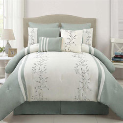 None - Felice 8-piece Comforter Set - With embroidered vines, nothing speaks of beauty and luxury like this Victoria Classics comforter set. The beautiful seafoam set is machine washable and includes a comforter, two shams, two Euro shams, an oblong pillow, a square pillow and a bedskirt.
