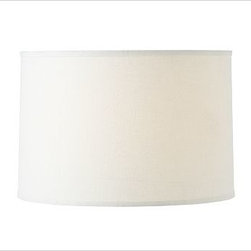 "Linen Straight Drum Lamp Shade, Large, White - The subtle texture of linen gives our Linen Tapered Drum Lamp Shade a rich look. It's finished with matching edging. Small: 12.5"" diameter, 8.5"" high Medium: 14"" diameter, 9.5"" high Large: 17"" diameter, 11"" high Linen-cotton shade with styrene lining. Pair with any of our Mix & Match(R) lamp bases (sold separately)."