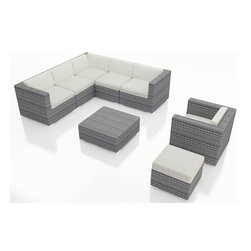 Harmonia Living - Urbana 8 Piece Weathered Stone Patio Sectional Set, Canvas Natural Cushions - For your large patio seating and premium outdoor furniture needs, the Harmonia Living Luxe Urbana 8 Piece Modern Sectional Set in Weathered Stone with White Sunbrella cushions (SKU HL-URBN-WS-8SEC-CN) sets the standard. This modern wicker sectional sofa set is a practical choice for those who love to entertain outdoors. The brushed aluminum feet and bold clean lines will give your patio a modern look. More durable and better looking than natural rattan wicker, this set features premium resin wicker. Few modern patio sofa sectional sets offer this level of quality and design at such an affordable price.
