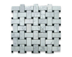 """Stone Center Corp - Carrara Marble Basketweave Mosaic Tile Black Dots 1x2 Polished - Carrara white marble 1"""" x 2"""" rectangle pieces and Nero Marquina 3/8"""" dots mounted on 12"""" x 12"""" sturdy mesh tile sheet"""