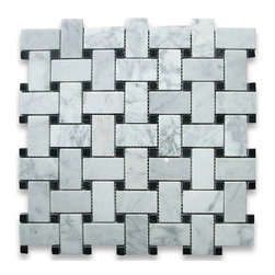 """Stone Center Corp - Carrara Marble Basket-Weave Mosaic Tile, Black Dots, Polished - Carrara white marble 1"""" x 2"""" rectangle pieces and Nero Marquina 3/8"""" dots mounted on 12"""" x 12"""" sturdy mesh tile sheet"""