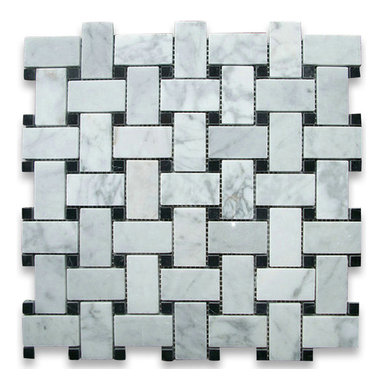"Stone Center Corp - Carrara Marble Basketweave Mosaic Tile Black Dots 1x2 Polished - Carrara white marble 1"" x 2"" rectangle pieces and Nero Marquina 3/8"" dots mounted on 12"" x 12"" sturdy mesh tile sheet"