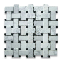 "Stone Center Corp - Carrara Marble Basketweave Mosaic Tile Black Dots 1x2 Polished - Carrara White Marble 1x2"" rectangle pieces and Nero Marquina 3/8"" dots mounted on 12x12"" sturdy mesh tile sheet"