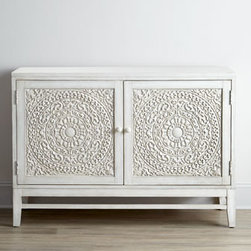 Horchow - 'Cynthia' Console - The Moroccan vibe on this gorgeous cabinet would be so beautiful in a dining room, or even as a smaller option for a TV console.