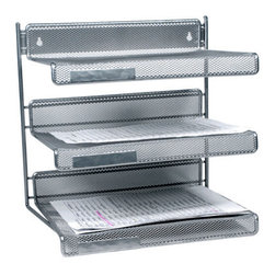 Design Ideas - Silver Mesh 3-tier In/Out File Organizer - Your desk will become an organization station with our silver mesh 3-Tiered Desk Shelf.