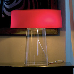 Prandina - Prandina | Glam T3 Table Lamp - Design by Luc Ramael, 2005.Imported from Italy.Table lamp for diffused or downward lighting. Blown glass diffuser and base available in several color combinations. Matte white painted metal lampholder structure. White polyester-covered feeding wire with in-line dimmer.