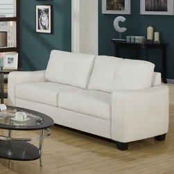 Monarch - Sofa in White Bonded Leather - This ivory bonded leather sofa will make a wonderful addition to your living room or den. Its contemporary shape enhances any room with big, plush back and box seat cushions. A stitched design enhances the back cushions, as well as the outsides of the square track arms. The slightly flared design creates an inviting feel, and tapered wooden block feet support this piece.
