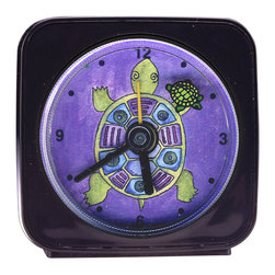 Turtle Alarm Clock - Popular with both kids and adults, our alarm clocks can't help but make you smile. Made from an original painting, each clock is 2.25'' square with a round face. On our Turtle Alarm Clock, the smaller turtle swims magically around the edge of the clock as it counts the seconds. Each alarm clock comes in a gift box and includes a free battery. Made in the USA (Be sure to look for our turtle wall clock, night light and magnets, too!)