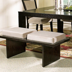 Steve Silver Furniture - Steve Silver Movado Velvet Bench - Indulge that part of you that desires versatility and retro styling. The sleek style of the the Movado dining collection features a deep merlot stained finish with luxurious velvet upholstered chairs.