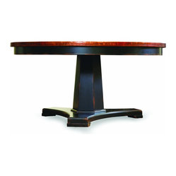 "60"" Round Pedestal Dining Table, Ebony and Copper"