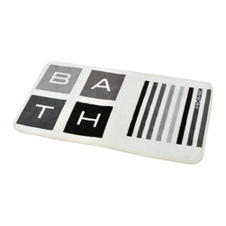 Printed Microfiber Bath Rug Peace and Loft Grey - This printed microfiber bath rug Peace and Loft is 100% polyester. Ultra-soft touch and sophisticated in any bathroom with its letters and stripes, this bath rug prevents slips with its PVC non-skid backing. Machine wash cold and no dryer. Width 17-Inch and length 29.5-Inch. Indoor use only. Color grey and black. Add underfoot softness and a perfect finishing touch to your bathroom decor with this trendy microfiber bath rug! Complete your Peace and Loft decoration with other products of the same collection. Imported.