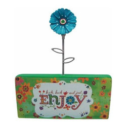 """WL - 5 Inch """"Enjoy"""" Blue Daisy Flower on Green Stand Photograph Holder - This gorgeous 5 Inch """"Enjoy"""" Blue Daisy Flower on Green Stand Photograph Holder has the finest details and highest quality you will find anywhere! 5 Inch """"Enjoy"""" Blue Daisy Flower on Green Stand Photograph Holder is truly remarkable."""