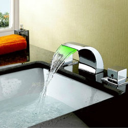 NEW Brass Waterfall Bathroom Sink Faucet with Stainless Steel Spout (Widespread - Specifications