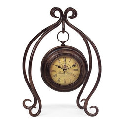 IMAX CORPORATION - Iron Hanging Clock with Stand - Uniquely designed iron hanging clock with stand with yellow face and roman numerals. Find home furnishings, decor, and accessories from Posh Urban Furnishings. Beautiful, stylish furniture and decor that will brighten your home instantly. Shop modern, traditional, vintage, and world designs.