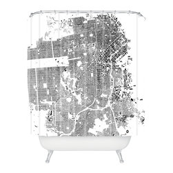 DENY Designs - CityFabric San Francisco White Shower Curtain - Who says bathrooms can't be fun? To get the most bang for your buck, start with an artistic, inventive shower curtain. We've got endless options that will really make your bathroom pop. Heck, your guests may start spending a little extra time in there because of it!