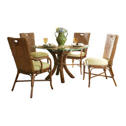 Wicker Paradise - Rattan Dining Set - Marquesa - The Marquesa rattan dining set puts a priority on comfort with a unique style.   Rattan Dining Set:  -You can select from 6 different finishes on your rattan!  -This top of the line rattan dining set is made in the USA!  -Enjoy dining in style and comfort with this unique dining set.  -Customize your set for your decor with 70 fabrics to choose from.    Rattan finish choices