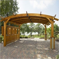 Outdoor Greatroom Company - Sonoma 12' x 12' Arched Wood Redwood Pergola in Douglas Fir - Sonoma 12' x 12' Arched Wood Redwood Pergola in Douglas Fir (Replaces the Sonoma 10-R)Features: