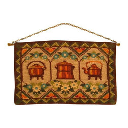 Used Mid-Century Danish Wall Hanging - What's cozier than a cup of tea and a bowl of soup? This vintage Mid-Century Swedish needlepoint wall hanging features floral and geometric motifs and warm images of a tea kettles and a big soup pot. This is the perfect piece of art to warm up your kitchen or dining room.