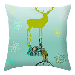 """Suzanne Powers - Snow Deer Pillow In Blue - A snow deer in blue tones with snowflakes.  A contemporary snow deer will go with white or blue Christmas color scheme.  Dimensions 18"""" X 18.""""  Our throw pillows are made from 100% polyester fabric and add a stylish statement to any room.  Each pillow is printed on both sides (same image).  Spot clean, price includes shipping."""