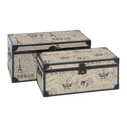 Aspire - Paris Script Rectangular Burlap Trunk - Set o - Add a touch of Parisian style to your home with this lovely set of trunks. Featuring wood construction covered in burlap and dark faux leather. Paris script and designs decorate the burlap sides. All pieces are functional and open for storage. Wood and burlap. Color/Finish: Cream. 13 in. H x 28 in. W x 13 in. D. 11 in. H x 25 in. W x 11 in. D. Weight: 30 lbs.