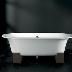 "Asia Bathtub - by Victoria and Albert. dimensions: 68.5"" L x 31.5"" W x 24.8"" H x 15.2"" D. gallons to overflow: 63. available in a variety of drain finishes and materials. made of englishcast. +$425 for black resin/faux wood cradle."