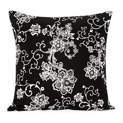 """BH Decor - Black & White Floral Swirl Accent Throw Pillow Cover - - 20"""" square"""