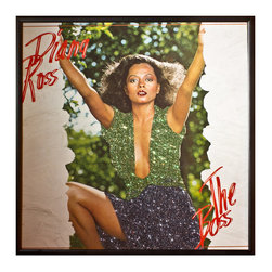 """Glittered Diana Ross The Boss Album - Glittered record album. Album is framed in a black 12x12"""" square frame with front and back cover and clips holding the record in place on the back. Album covers are original vintage covers."""