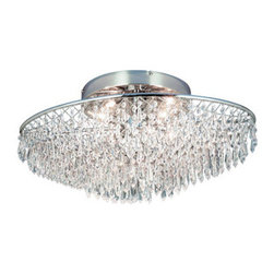 Eurofase Lighting - Eurofase Lighting 16517 Crystal Four Light Down Lighting Flush Mount Ceiling Fix - Four Light Flush Mount Ceiling Fixture from the Chrysalis CollectionCrystal droplets dangle lustily from a wispy silver cross-hatched basket. The sharp cut allows for infinite light to be exquisitely strewn, as it is re-distributed through hundreds of radiant prisms. Clarity, cut, and grace are the key elements in this charming creation.