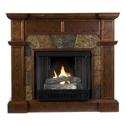 """Home Decorators Collection - Branley Fireplace - Our Branley Fireplace boasts a gorgeous espresso finish that perfectly complements the earthtone faux slate around the firebox. Design details include crown molding and slim trim. This rustic yet elegant ventless fireplace will dress up any room. Display photos and treasures or even a TV on the mantel. With the collapsible panel folded up, the Branley becomes a corner fireplace.  The electric fireplace version of the Branley features realistic LED flames and embers; adjust both temperature and brightness with the included remote control. The gel fireplace version offers the snap and crackle of a wood burning fireplace with none of the mess. It can hold up to three cans of gel fuel simultaneously (fuel not included). Collapsible panel allows use on a flat wall or in a corner. Accommodates a flat panel television of up to 47""""W. Mantel supports up to 85 lbs. Electric version includes 6' cord for plugging into a standard outlet. Electric version's remote control takes one CR2025 battery, included. Gel version includes cement logs, faux coal cinders and screen kit."""