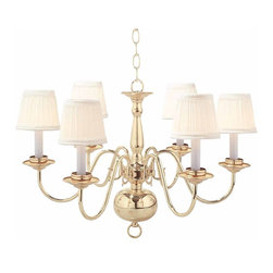 "Renovators Supply - Chandeliers Bright Solid Brass 6 light Chandelier eggshell shades - Ceiling Lights:Our Williamstown Brass Chandelier has 6 arms & a touch of Victorian elegance. Measures 17 1/2"" high x 26 1/2"" wide.  The ceiling pan has a diameter of 5 1/8"". Shades (in eggshell) are included with this item."