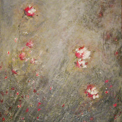 """Theresa Stirling - Botanicals 1.4 - Modern rustic encaustic botanical paintings. Many layers of wax with pops of luscious color and luminosity. Surface texture and gorgeous shades of background greys.   Makes a great statement piece.  40x40""""   encaustic (wax) and oil. Stained sides at 2"""", and does not need frame."""