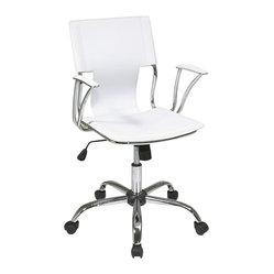 Avenue Six - Avenue Six Dorado Office Chair in White - Avenue Six - Office Chairs - DOR26WH - Avenue Six lets you find all the home furnishings to forge ahead with your sense of style and surround yourself with the things you love.  The Dorado collection by Ave Six is for those who seek a more straightforward approach to creating the perfect room setting.  This contemporary edgy and streamlined collection is sure to make a statement.  The Dorado chair is sleek and simple while maintaining incredible high-performance design.  Once assembled Avenue Six furniture becomes indistinguishable from assembled high end brands.  The Dorado collection from Avenue six has it all: form and function combined with an incredibly stylish exterior.Features:Contoured seat and back with built-in lumbar supportOne touch pneumatic seat height adjustmentLocking tilt control with adjustable tilt tensionPadded armrests with chrome finishHeavy duty chrome finish with dual wheel carpet casters
