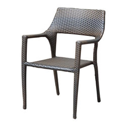 Source Outdoor - Tuscana Bistro Chair - Price is for a single chair.. Pictured with Bistro Table, not included. Chair cushions not included. Frame made with high quality powder coated aluminum to prevent rust and corrosion. Weave is made of High Density Polyethylene, which ensures the long lasting beauty of the furniture.. Dimensions: 26 in. W x 22 in. L x 33 in. H. Weight: 10 lbs.Conquest Outdoor offers its customers a complete ensemble of high quality comfortable outdoor furniture.  You can furnish your outdoor area with seating, lounging, dining, bar tables, bar stools and much more.  Our furniture is built to Hospitality grade and meant to be outside in the elements 24/7.